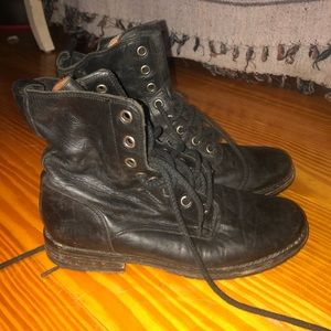 Frye black leather combat boots